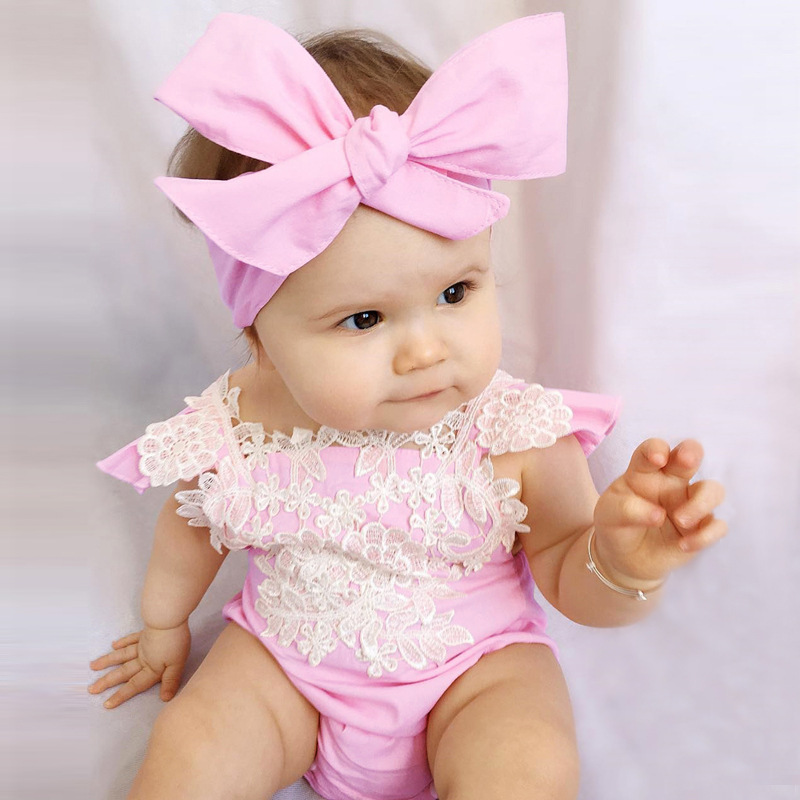 Summer Fashion Fancy Pink Lace Baby Girl clothes Romper + Headband Set