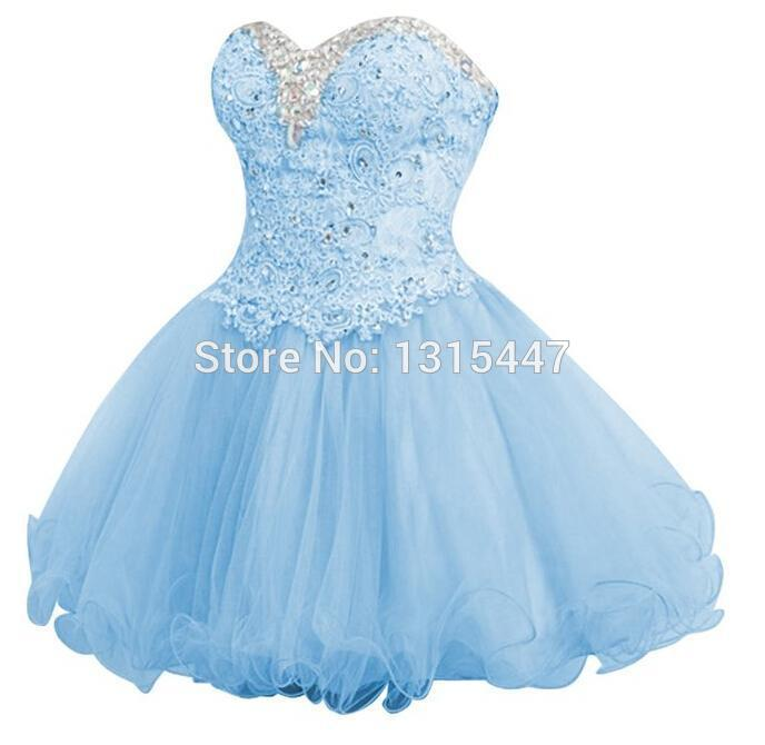 Vestidos De Festa 2015 Light Blue Short Homecoming Dresses Sweetheart Lace Beaded Sexy Girls Mini Prom Party Dresses