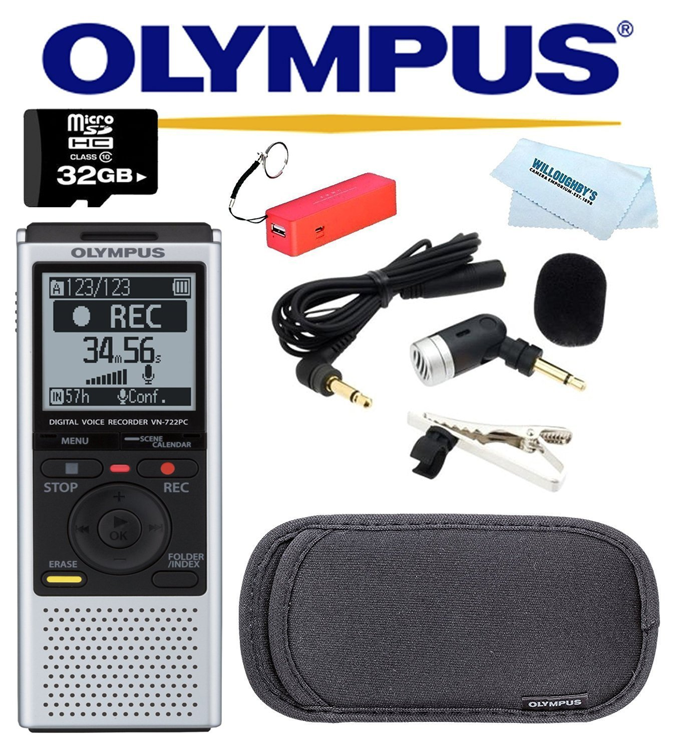 Olympus VN-722PC Voice Recorders, 4 GB Built-In-Memory + 32GB MicroSD + Olympus ME-52W Noise Canceling Microphone + Olympus CS-125 Soft Carrying Case + Power Bank + Bluetooth Speaker + Accessory Kit