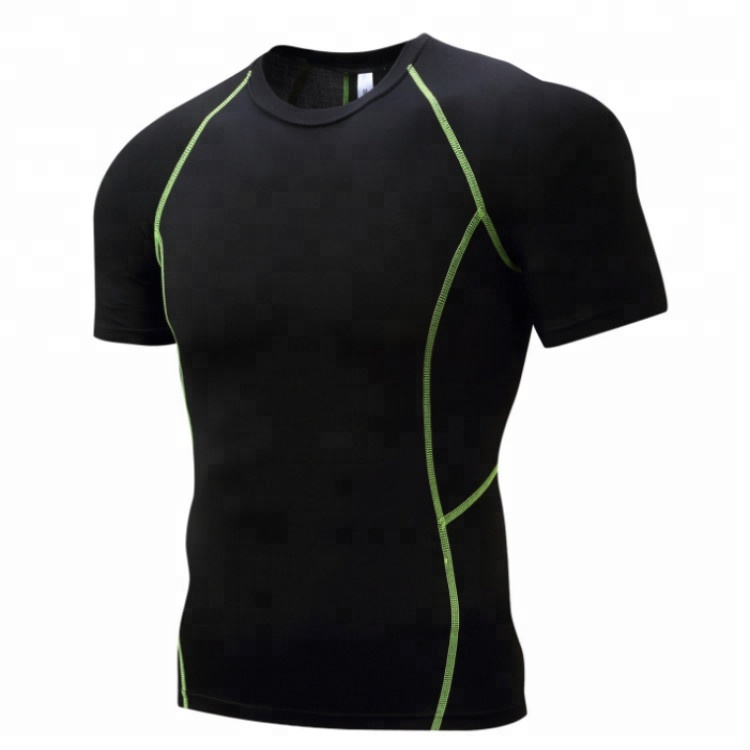 Mens Base Layer Compression Running Gym Elastic Dry Fit T Shirt
