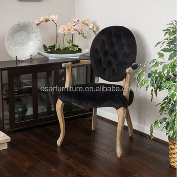 French Style Black Velvet Round Tufted Back Arm Dining Chair Buy