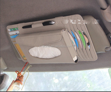 Multifunctional 4 CD DVD Pockets+4 Card Pockets +1 Tissue Pocket PU Leather Car Vehicle Sunvisor Organizer Case