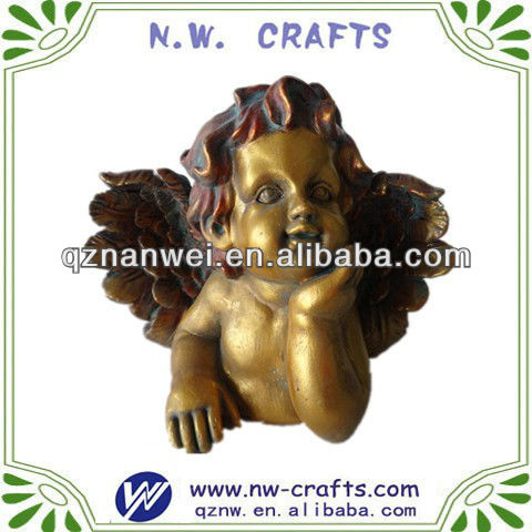 Resin gold finish angel statue