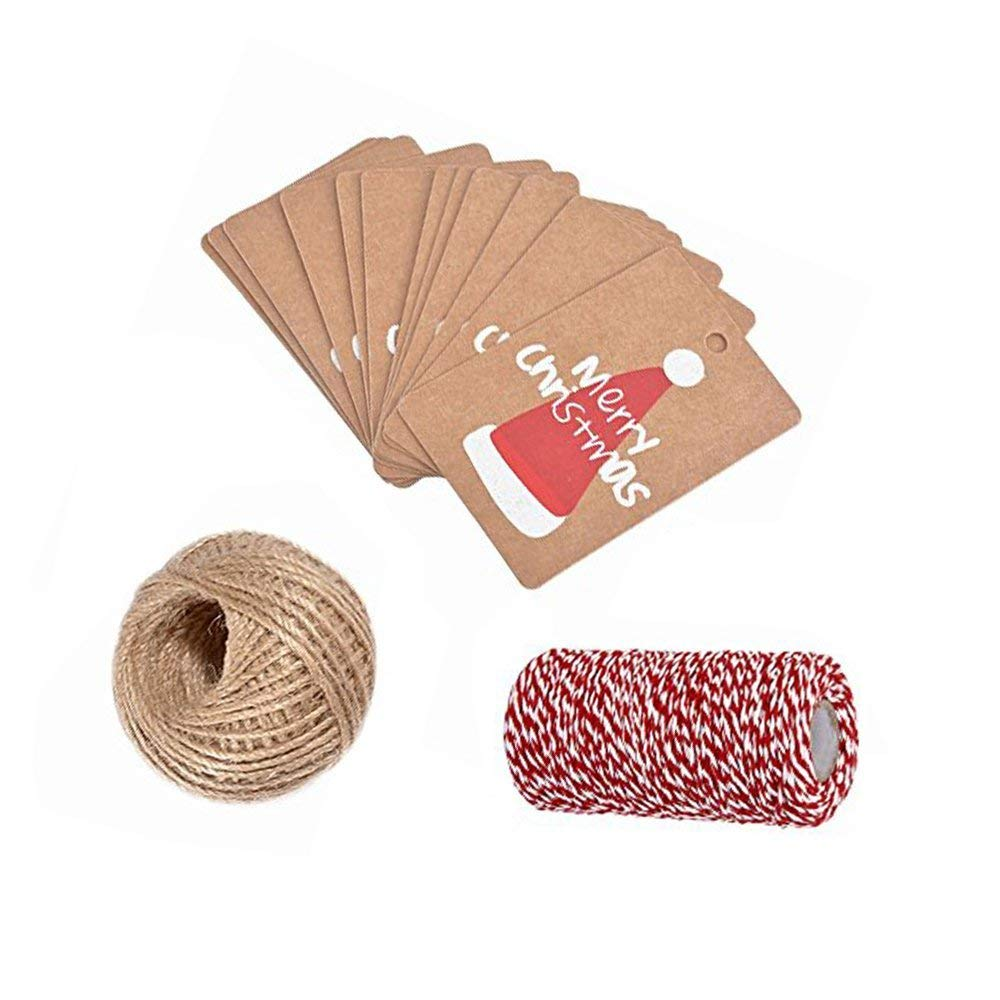 100 PCS Christmas Gift Tags with 100YD+100 Feet Natural Jute Twine,Classic Christmas Elements Kraft Paper Gift Tags Perfect for DIY Xmas Present Wrap Stamp and Label Package Name Card