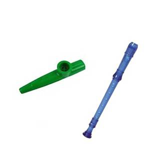 My First Recorder / Kazoo Pack -BPA FREE Blue Translucent Recorder w/Green Kazoo