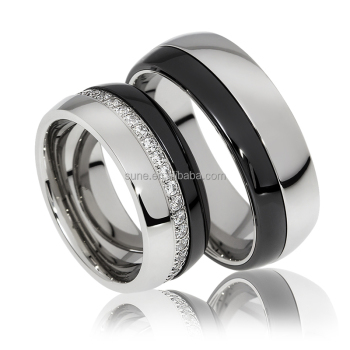 Latest Design Couple Wedding Bands Black Ceramic Rings 8mm Wide Stainless Steel Custom Metal Jewelry