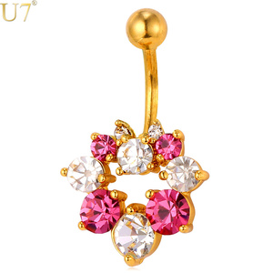 U7 Colorful red white Rhinestone crystal Body Chains Plug Flowers Belly Button Ring Women Body Piercings Jewelry