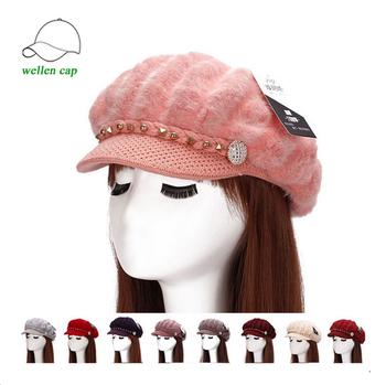 горячая распродажа женская зимняя вязаная шапка с козырьком Buy