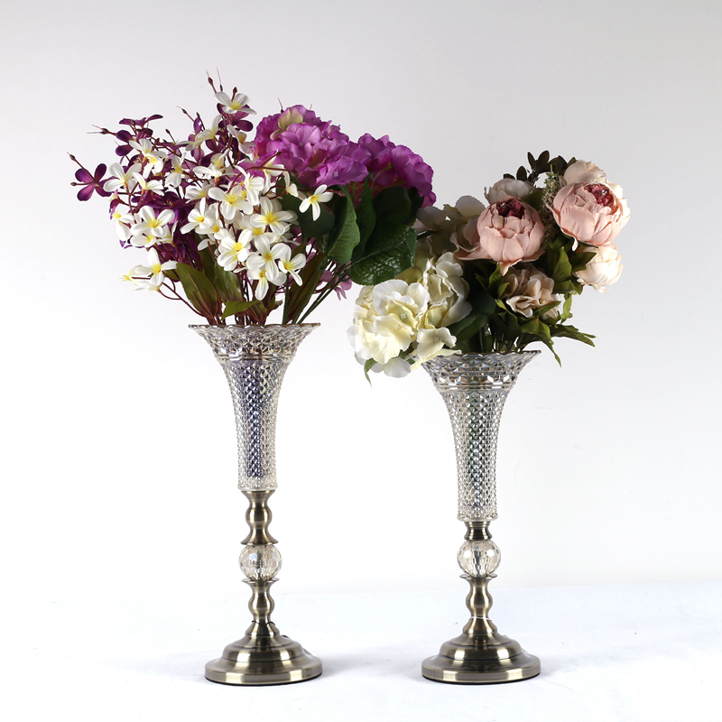 NO V021 classical create crystal flower vase for Wedding center decoration