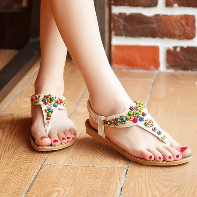 Saa3382 Lady Flat Sandal Shoes 2015 Latest Fashion Colorful Beaded ...