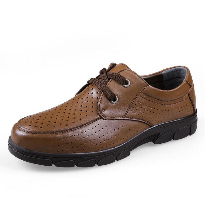 2015 the new men's summer Leather air hole shoes big yards size 38-47 men's oxfords genuine leather shoes