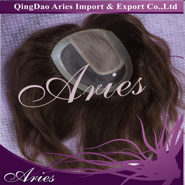 silk base remy european human hair topper pieces.undetectable toupee