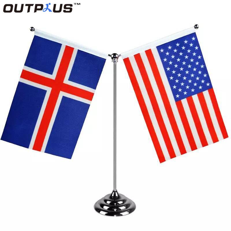 Disesuaikan Melambaikan Negara atau Logo Perusahaan Printing Poliester Tabel Bendera Tangan Bendera