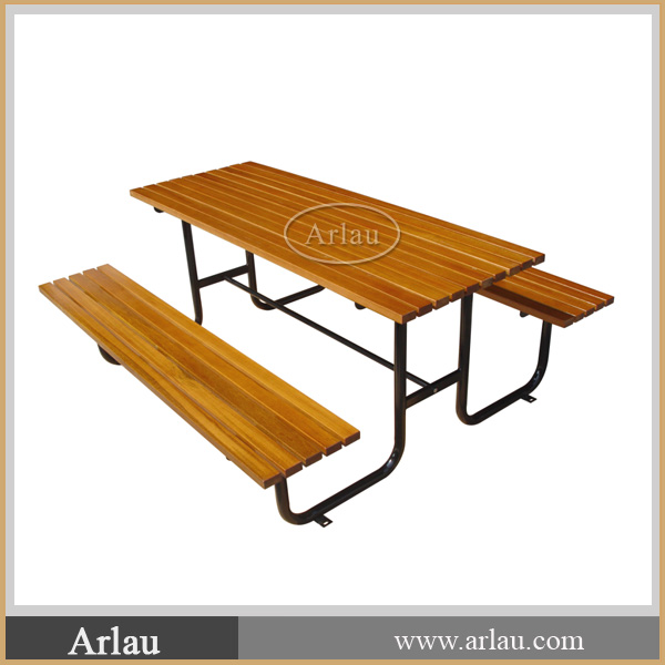 (TB-21) Public Outdoor Wood Picnic Table and Bench
