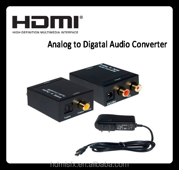 1080P hdmi to 5.1 analog converter , High quality analog digital video converter with power supply