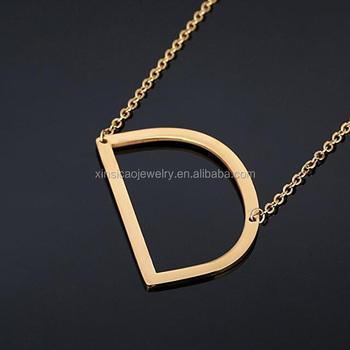 f603938a3a86 Women's Classic Stainless Steel Big Letter Necklace Initial Chain Script  Pendant Name Necklace