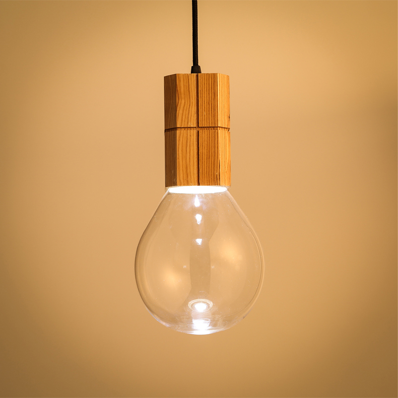 Wooden art energy saving glass ceiling lamp office pendant lighting retro chandelier for Cafe
