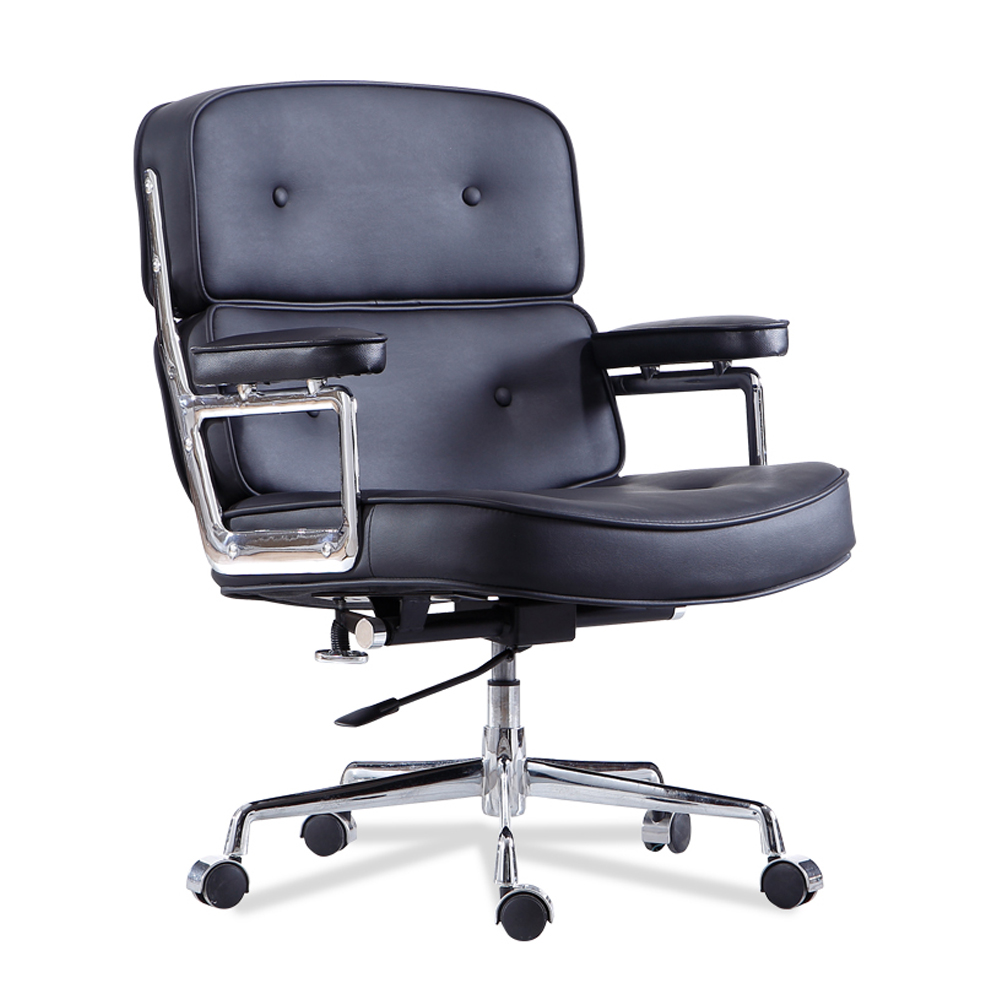 luxury Low Back Soft Pad PU Leather Swivel Chair Office Chair With Footrest