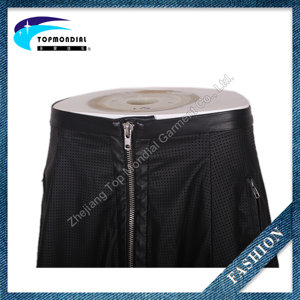 2016 New popular black leather sexy skirts for girls