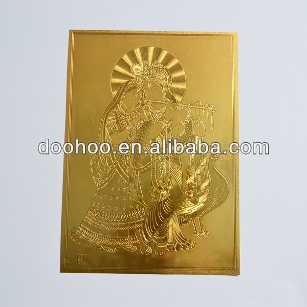 gold foil card with god picture