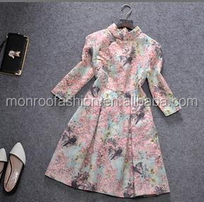 monroo Elegant ladies fancy flower printed Chinese Qipao Chinese traditional dress