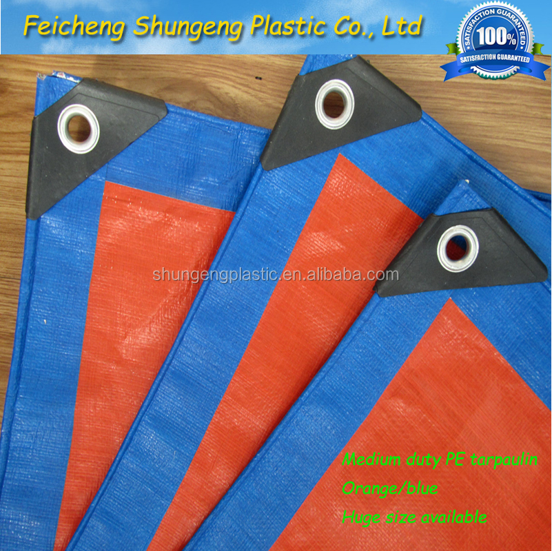 blue/orange heavry duty pe/hdpe tarps/ tarpaulin with reinforced corners woven fabric sheet