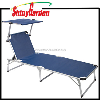 Aluminium Adjustable Leisure Folding Beach Sun Lounge Lounger Chair With Sun  Head Sun Shade