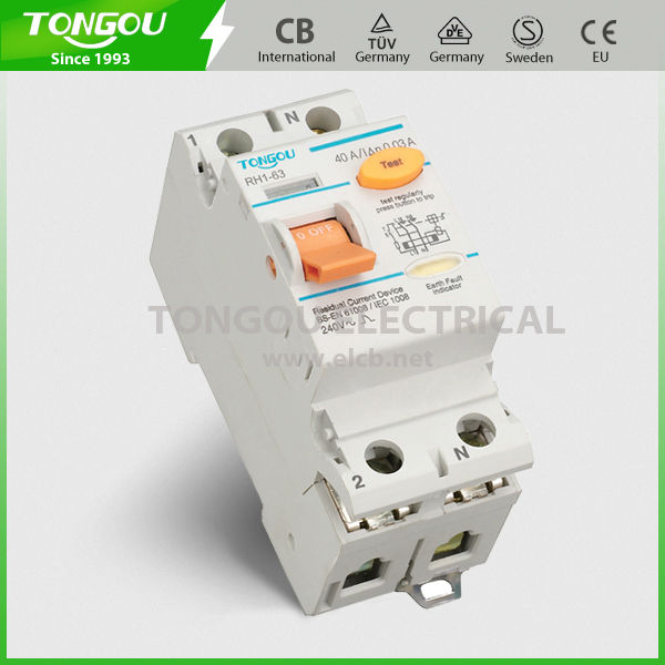 Protection Against Earth Leakage Current A,AC type 2P 63A Residual Current Circuit Breaker TORH1-63