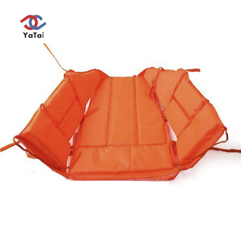 Hot sale adult life saving jacket orange color EPE foam wih 4 lines of reflector and whistle working life jacket