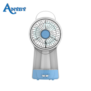5inch AC/DC home solar Rechargeable emergency electric fan battery pedestal small mini fan with LED night light