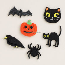 2017 new hot sale China wholesale party products handmade felt accessories Halloween decoration ,crow/cat/bat/pumpkin ornaments