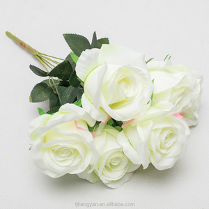 Wholesale Different Kinds Artificial Flowers White Silk Ribbon Cabbage Roses