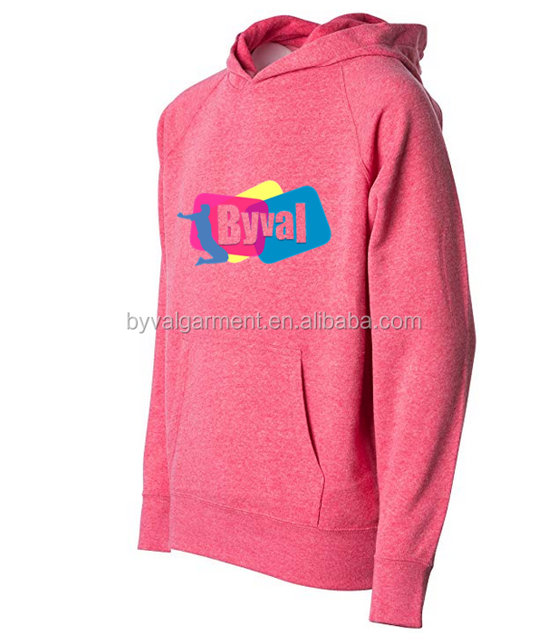 Byval Custom Logo Pullover Girls Front Pockets Fleece Kids Hoodies