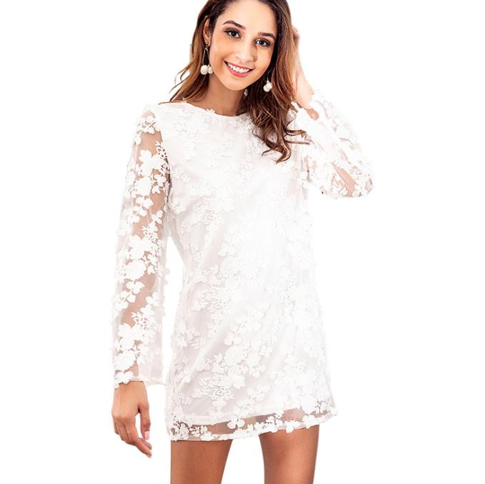27a40ad4379 up-0114r women prom dresses long sleeve short white casual lace dress