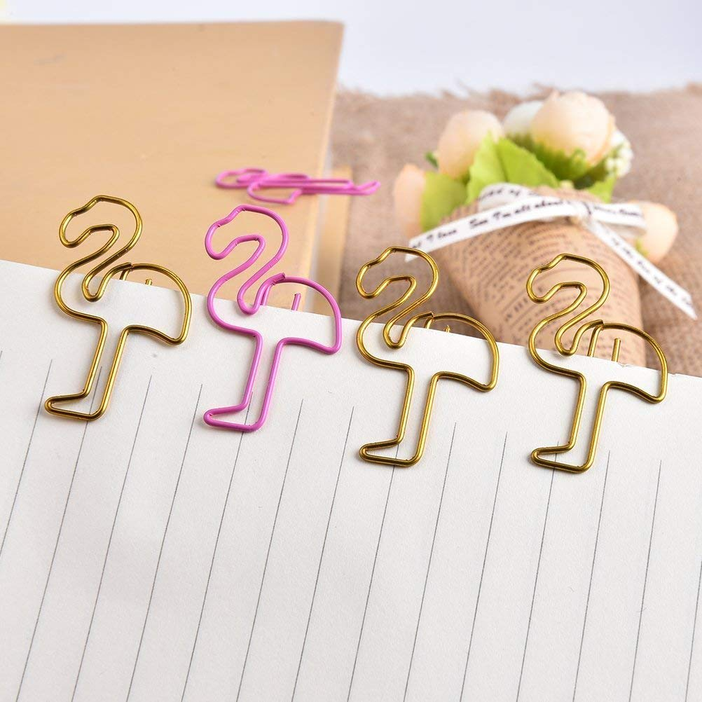 Paper Clips 24pcs Small Sizes Cute Flamingo Bookmark Clips for Office School Supplies (Pink and Gold)