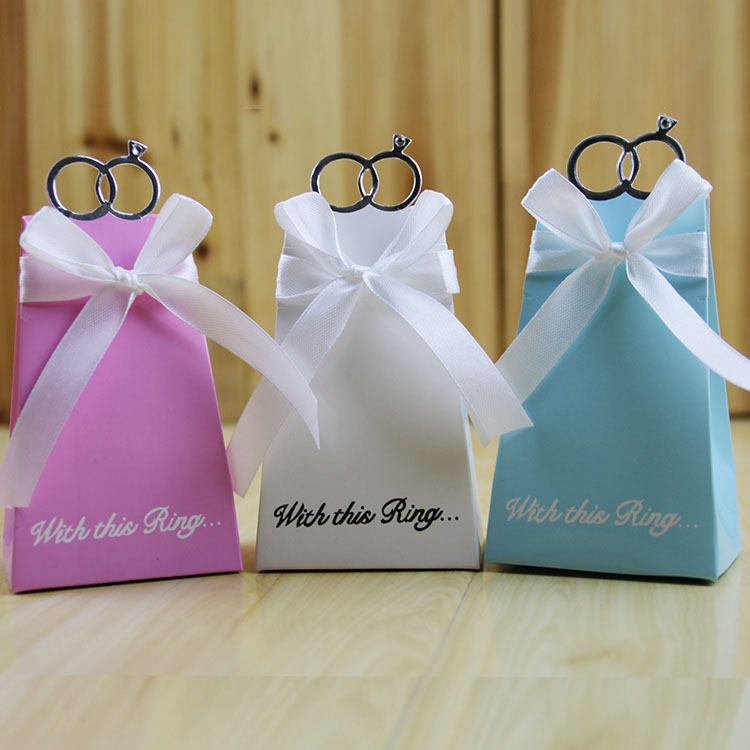 Diamond Ring Style Gift Box Candy Favors Paper Bag Wedding decoration