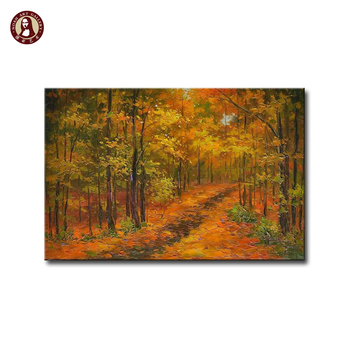 Beautiful scenery drawing heavy texture autumn landscape art and craft oil painting