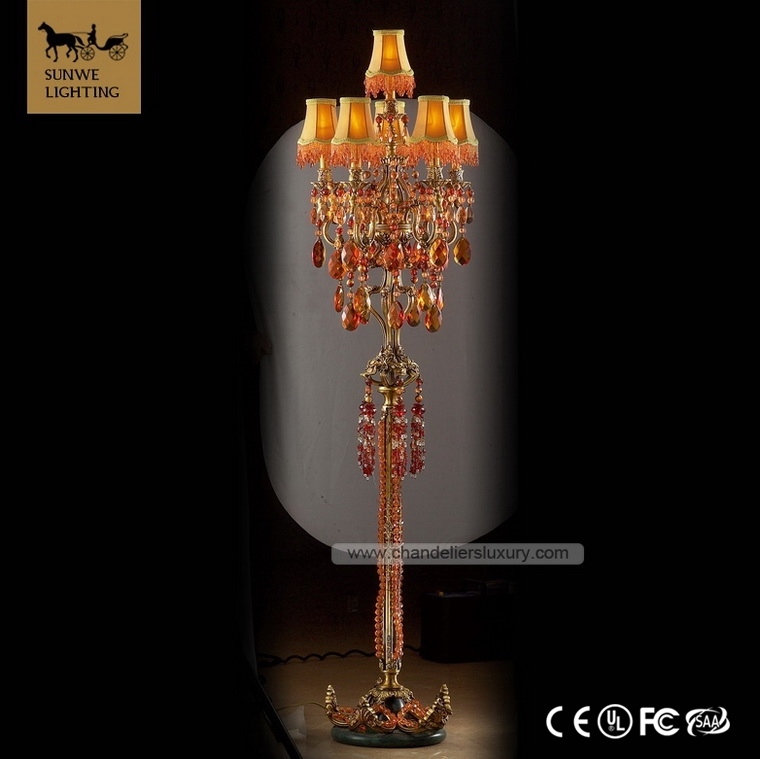 Traditional Rococo Antique Bronze 6 Lights Orange Large Hotel Art Deco Copper Crystal Glass designer Floor Lamps
