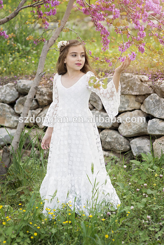 Première communion robe//fleur fille blanc cassé dentelle robe//Boho-Chic Filles Robe
