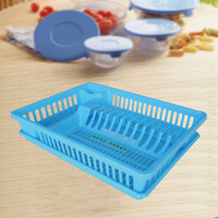 Plastic Kitchen Organizer Dish Drying Shelf with drain board and cutlery holder