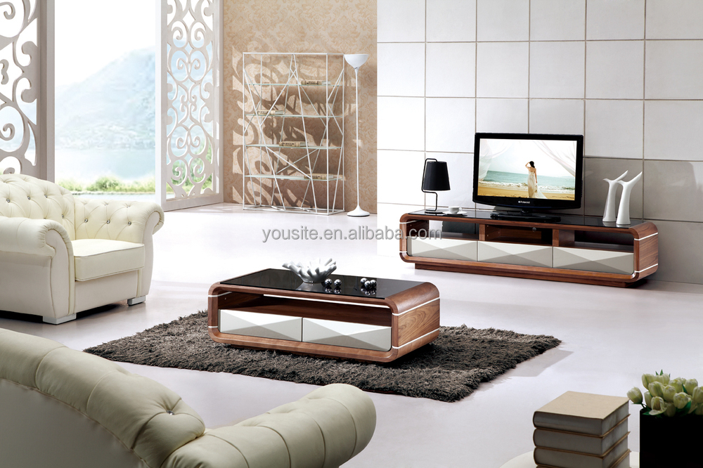 Living Room Furniture Wood Led Tv Wall Unit Design