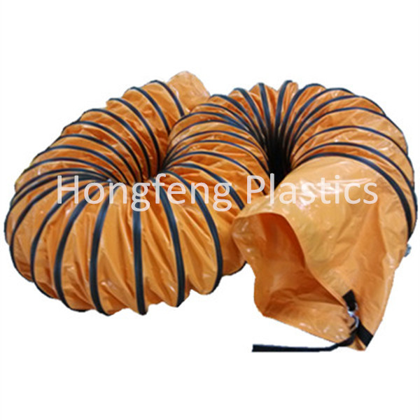 600mm Orange Tunnel Pvc Flexible Plastic Round Air Duct