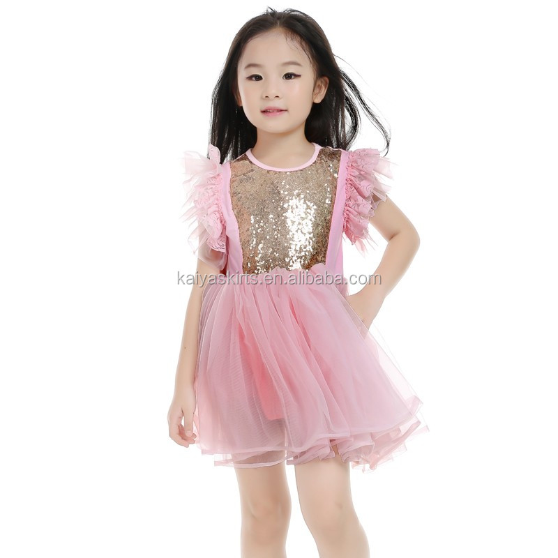 Summer Pink Sequin Baby Girl Clothes Princess Children's Dresses Flower Girls Dress