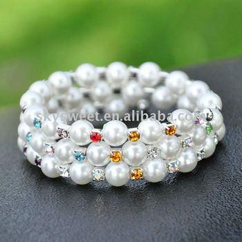 fa4b852eacdd Nueva perla de imitación de cristal pulseras hechas a mano (SWTZ7501C)