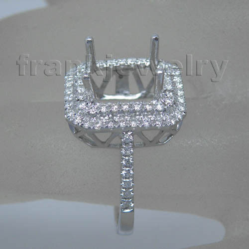 Unique Jewelry Emerald Cut 7x9mm Semi Mount Diamond Ring