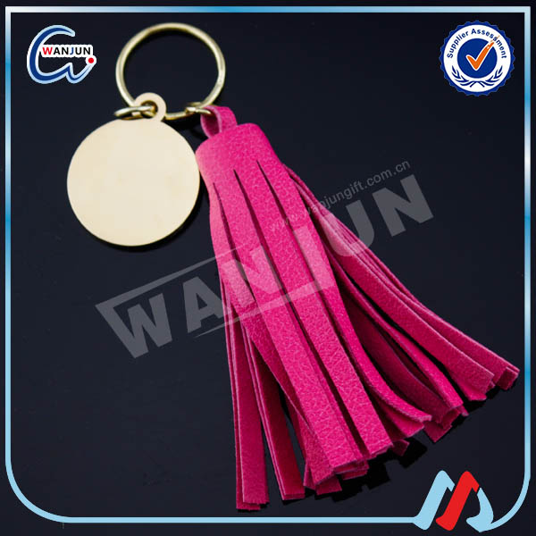 custom your logo red leather tassel keychain