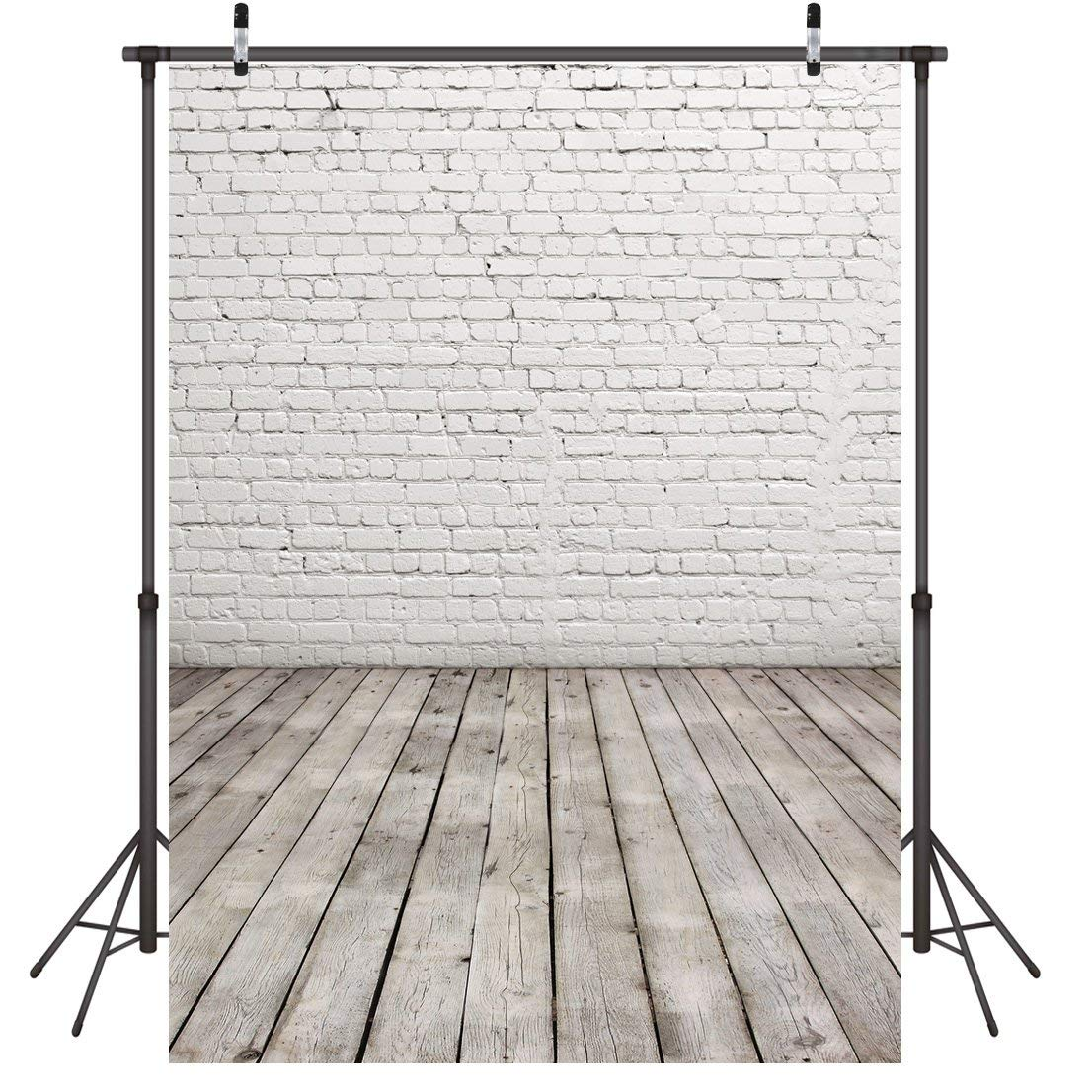LYWYGG 5x7ft Vinyl Brick Wall Wood floor Photography Backdrops Nostalgia Photography Backdrop for Holiday Party, Baby Shower, Wall Decoration, Photography, Video Backdrops CP-11