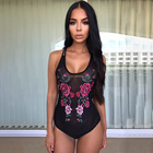L1952A 2017 New Fashion Women Black Lace Sexy Flower V-neck Hight Leg Mesh Soft Embroidery Bodysuit