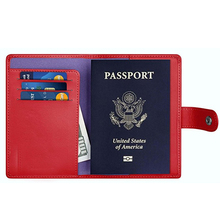 High quality Leather card wallet passport pouch, RFID Blocking passport holder