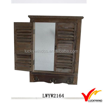 Hooks Farm Vintage Wooden Frame Wall Mirror With Shutters Buy Wall Mirror With Shutters Wooden Frame Shutter With Mirror Vintage Shutter Mirror Product On Alibaba Com